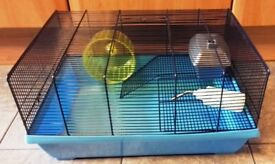 """HAMSTER CAGE WITH EXERCISE WHEEL, HOUSE AND WATER FEEDER - L. 20"""" x W. 14"""" x H. 10"""""""