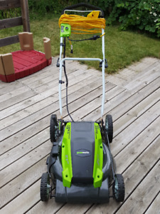 "Greenworks 21"" 13 Amp Lawn Mower with extension cord"