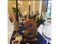 Gold Hand painted table numbers wedding