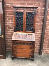 antique dark oak bookcase / bureau