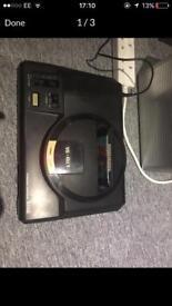 Sega megadrive, official controller and 3 games retro.