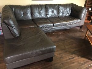 Dark Brown Leather Sectional.