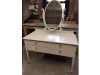Solid Wood Dressing Table with tilting mirror and 3 drawers – Beautifully restored in neutral colour