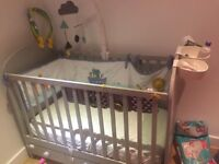 cot bed, mattress, protector and accessories