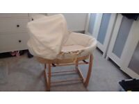 Mamas and Papas Moses Basket with rocker and normal stands