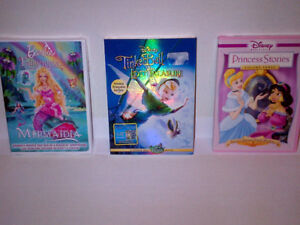 $15 NEW 3 DVDs Tinker Bell, Princess Stories & Barbie Fairytopia