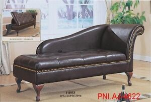 Elegantly Defined Curved Frame Leatherette Lounger With Storage