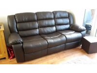 Chocolate Brown 3 Seater and 2 Seater Sofa's with Manual Recliners both ends