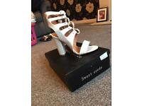 New White Lace up Block Heels
