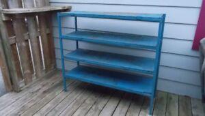 Vintage Industrial Solid Steel Frame Shelf w Wood Shelves