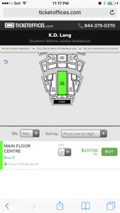 2 KD Lang tickets for the 24th