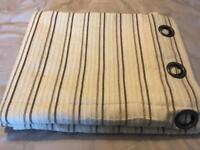 Striped cream / taupe fully lined eyelet curtains