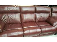 Real leather mahogany 3 seater + electric reclining 3+2 seater sofas