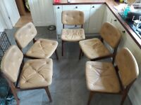 5 Retro G Plan Brown Leather & Wood Chairs (vintage antique mid century)