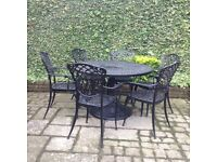 Used but in good condition black metal vintage style 6 seater patio garden furniture
