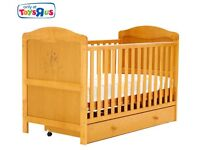 Toys R Us Winnie the Pooh Cot Bed / Cotbed, UNder Bed Drawer and Mattress