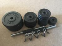 Cast iron weights and dumbbell bars