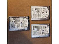 "Hitachi 500gb SATA Hard Drives 2.5"" Working Set Of 3"