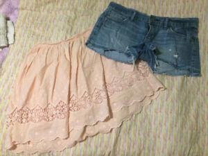 Skirt, jean shorts