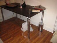 Black Table/Desk Top and Adjustable Support Frame