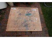 Vintage Retro Wooden Collapsible Exam Desk Graffiti Table Grange Hill 1990s onwards