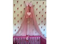 Canopy with a holder attached to the cot bed and bumper all pre-0wned £15