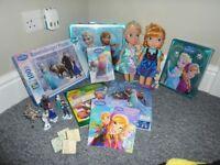 Frozen bundle, X2 Dolls, jigsaw, book, colouring in stuff, figure playlet, figurines set etc..