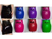 PVC SHORTS & PVC MINI SKIRT HIGH WAIST BLACK RED WHITE SIZE 10-16 UK NEW