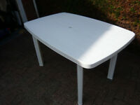 large white plastic table
