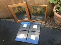 SIX SOLID WOODEN FRAMED MIRRORS ( 4 BRAND NEW ) BUNDLE