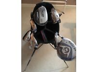 Left handed ladies gold clubs and bag