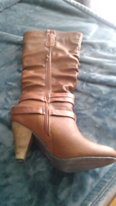 Womans tan leather boots