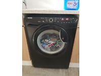 Black hoover washing machine with delay start time