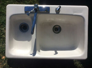 Double cast iron sink- white