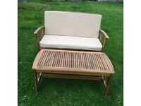 GARDEN WOODEN FURNITURE SET - TABLE, BENCH and 2 CARVER CHAIRS