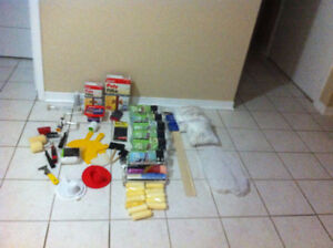Large Lot of Painting Supplies Rollers, Cages, Filler, Strainers