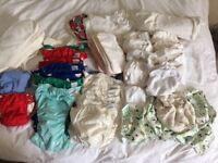 Massive collection of 27 large and medium reusable/ washable nappies, plus extras, used. £70