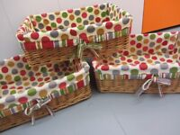 WICKER STORAGE BASKETS SET OF 3 WITH SPOTTY COTTON LINING