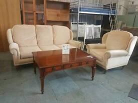 Cream highback fabric 3 seater sofa with armchair