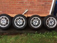 Four Ford Focus 15inch alloy wheels and tyres.