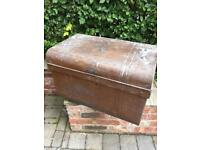 Retro metal chest war blanket box classic cool shabby chic storage cafe trunk