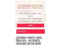GARAGE NATION FESTIVAL SATURDAY TICKET - STREATHAM