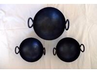 Set of three Indian curry balti dishes, heavy duty cast iron