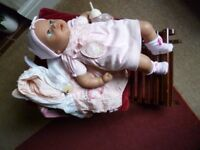 Baby Annabel Interactive doll with Sheep carrying sling and bottle - Shipley