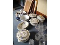 Wedgwood 3 lidded casserole serving dishes and 4 oval plates