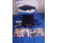 Playstation 4 500gb jet black + 5 games