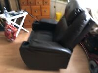 Leather rocking, swiviling and reclining chair