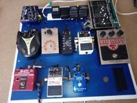bass synths, distortions, octaver and more with custom made board
