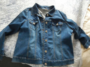 Classic Denim Jacket with bling buttons (2X-3X) - $10