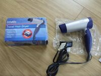 Folding 750W Travel Hair Dryer by Travels Accessories - New / Unused in Box